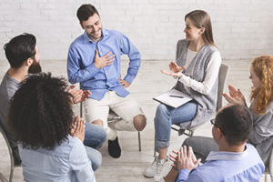 man sharing his story in group Dialectical Behavior Therapy Program DBT in Ohio